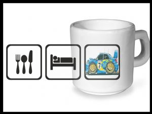 Koolart EAT SLEEP Design For Subaru Impreza WRX STi - Ceramic Tea Or Coffee Mug